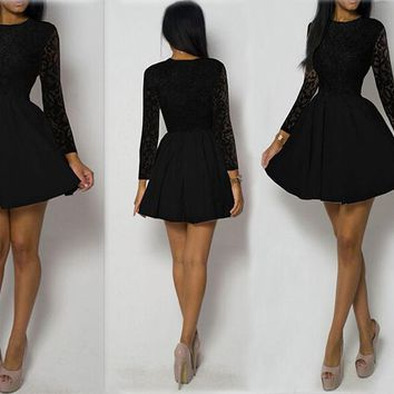 Black Lace Little Skater Dress