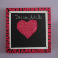 Teen fashion Art, Heart Painting on Canvas, PINK AND BLACK Zebra decor, 12x12