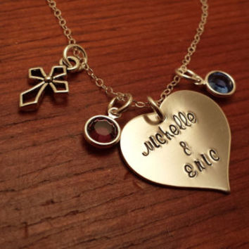 Hand stamped personalized heart shaped love necklace