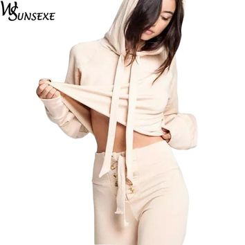 Two Piece Set Tracksuits Women Crop Tops Hooded Sweatshirt and Lace Up Long Pants Casual Sportswear Outfits Drawstring Hoodie