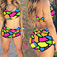 Bright Color Blocks Print Print Sporty Bathing Suit