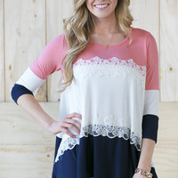 Lace Colorblock Tunic