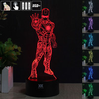 Iron Man 3D Night Light RGB Changeable Mood Lamp LED Light DC 5V USB Decorative Table Lamp Get a free remote control