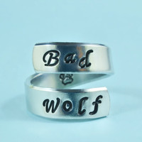 Bad Wolf - Hand stamped Spiral Aluminum Ring, Personalized Ring, Doctor Who Inspired, Custom Made Gift
