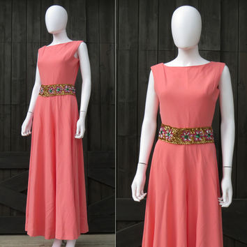 Vintage 60s 70s Coral Pink Party Hostess Jumpsuit Palazzo Pants