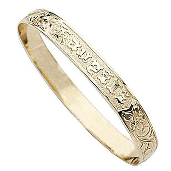 14K Yellow Gold Plumeria Princess Scroll Raise Letter Smooth Edge Bangle(Thickness 1.2mm)