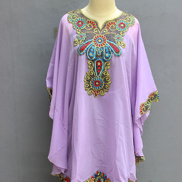 Cute Pastel Color  Women's Caftan Tunic Dress Short Caftan Embroidery Dress Tops