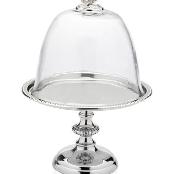 Godinger Pedestal Tray with Glass Dome - Silver