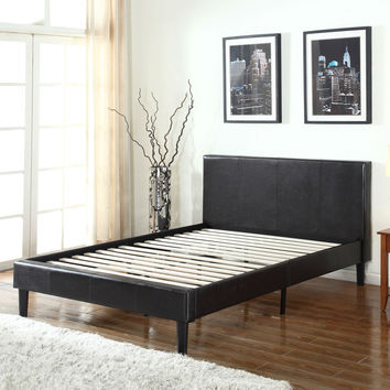 Queen Size Dark Brown Faux Leather Upholstered Platform Bed with Tufted Headboard