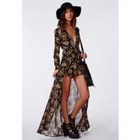 Missguided - Roxy Floral Chiffon Plunge Maxi Overlay Romper Black