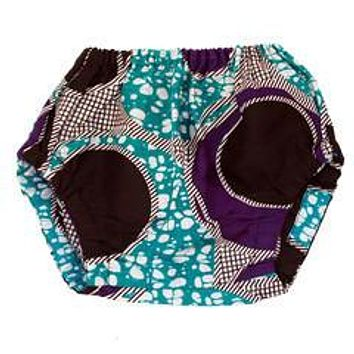 Purple & Blue Circles African Wax print Baby Bloomers