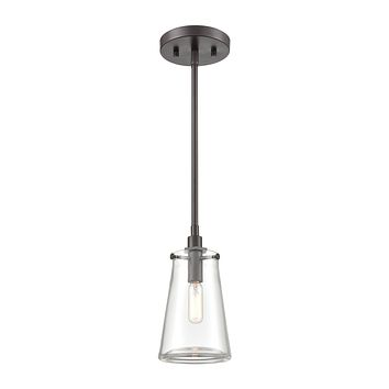 Beaker 1-Light Mini Pendant in Oil Rubbed Bronze with Clear Glass