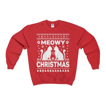 Meowy Christmas Cats Ugly Christmas Sweaters - Adult Crewneck Sweatshirt
