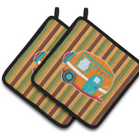Retro Camper Pair of Pot Holders BB6956PTHD