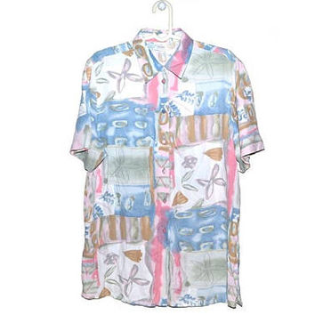 Womens Colorful Button Up Blouse Pastel Shirt Pink Green Blue Short Sleeve Vintage 90s Large L XL