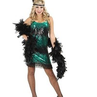 Adult Black and Jade Sequin Flapper Costume