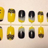 Yellow Black Badger Inspired Press On False Nails Fake Nails