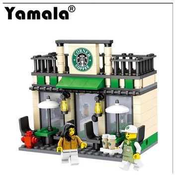 [Yamala] Series Mini Street Model Store Shop with Apple Store McDonald`s Building Block Toys Compatible with Legoingly Hsanhe