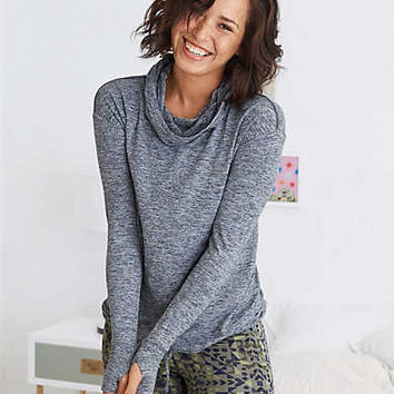 Aerie Move Cowl Hood Sweatshirt , Charcoal Heather