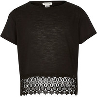 River Island Girls black lace crochet hem short sleeve top