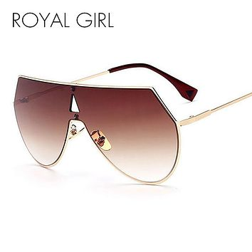 ROYAL GIRL Unique Shield Sunglasses Women Rimless Over Size Sun Glasses Vintage Shades SS923