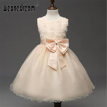 Flower Girl dress 2018 lace up butterfly A-line ankle length girl kids dresses princess for wedding party birthday kids'dress