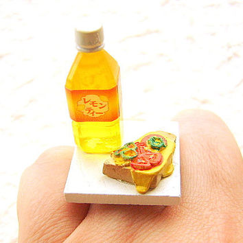 Kawaii Food Ring Pizza Toast Lemon Tea by SouZouCreations on Etsy