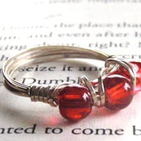 Red Triple Bead Sterling Silver Wire Wrapped Ring