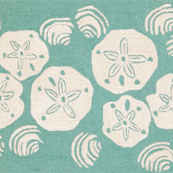 "Shell Toss Aqua 20"" x 30"" Indoor/Outdoor Rug"