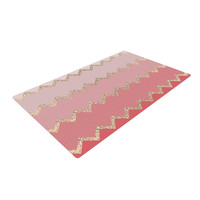 "Monika Strigel ""Avalon Coral Ombre"" Pink Chevron Woven Area Rug"