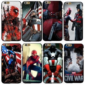 For Apple iPhone 4 4S 5 5S SE 5C 6 6S 7 Plus Back Case Cover Deadpool Captain America iron Man Printing Hard Plastic Shell