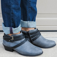 ankle moto bootie - grey | MACA Boutique