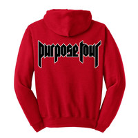 "Justin Bieber PacSun ""All Access / World Tour / Black & White Purpose Tour"" Unisex Adult Red Hoodie Sweatshirt"