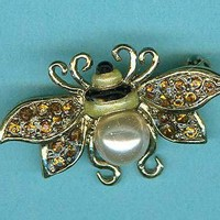 Liz Claiborne Bumblebee Pin Gold Pave Topaz Rhinestone Wings Costume Jewelry