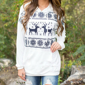 CHRISTMAS MOOSE PRINTING HOODED SWEATER