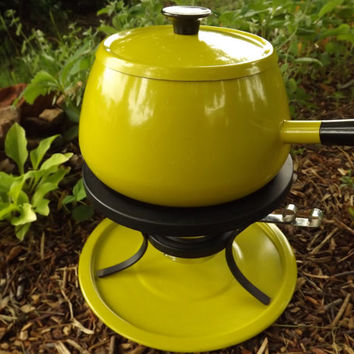 Fondue Pot, Retro Yellow and Black Vintage Industrial Aluminum Appliance, Mid Century Atomic Era Home Decor