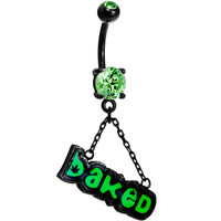 Peridot Green Gem Baked Dangle Belly Ring | Body Candy Body Jewelry