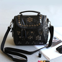 Leather Rivet Simple Design Stylish Bags Shoulder Bags [4915799236]