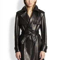 Black Faux Leather Long-Sleeve Tie-Waisted Notched Coat
