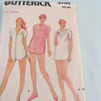 Night shirt and shorts misses pattern 3709 Butterick size large sewing pattern