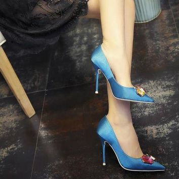 Green Shoes Woman High Heels Brand Wedding Shoes