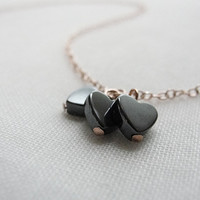 Black hearts on rose gold necklace