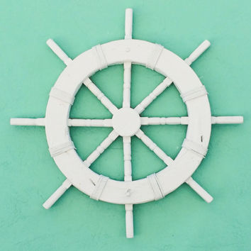 Ships Wheel Photography | Nautical Print | Green + White | Digital Download | Printable Photo | Digital Art Print | Instant Download
