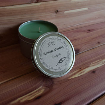 Eucalyptus - Aromatherapy Soy Candle - Stimulating Unisex Aroma - Hand Poured - 8 oz Tin Container - Baby/Bridal Shower Favor -  Gift