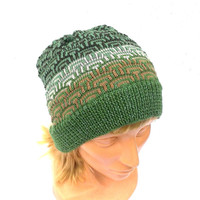 Knitted colorful wool beanie, knit winter hat, knit green brown skull cap, knitting adult hat, accessories, women's beanie, men's cap, tam