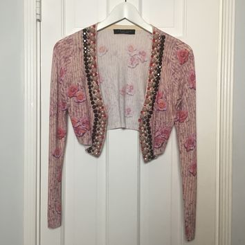 Twin Set women's pink cropped embroidered cardigan sz S