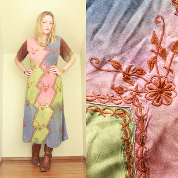 90s - Boho - Hippie - Rainbow Tie Dye - Floral Embroidered - Ethnic Indian - Maxi Dress