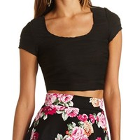 WAVY PIN-TUCK CROP TOP