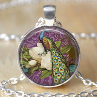 Peacock necklace,purple green peacock and magnolias pendant, beautiful peacock jewelry, peacock charm, gifts for family friend