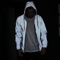 Men jacket casual hiphop windbreaker 3m reflective jacket men sport coat hooded fluorescent clothing